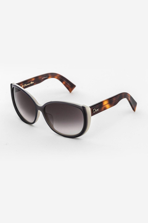Ladies Oval Frame Sunglasses in Black, Havana/Gray Gradient