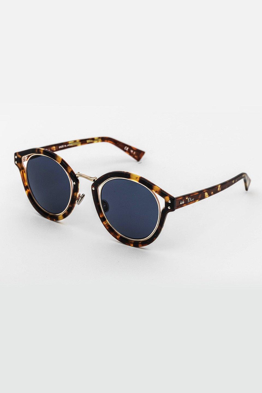 Ladies Round Frame Sunglasses in Tortoise/Blue