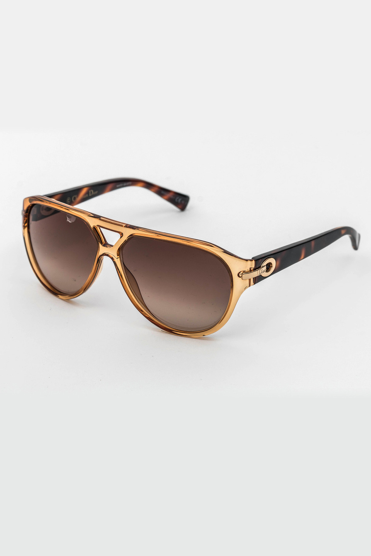 Ladies Round Frame Sunglasses in Havana/Brown Gradient