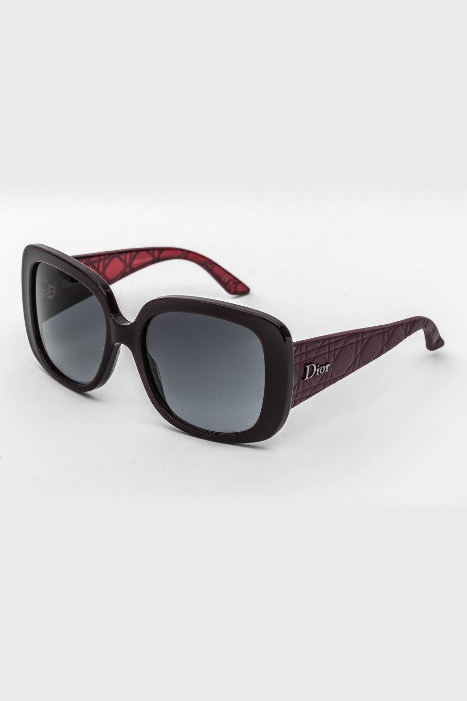 Ladies Square Frame Sunglasses in Black, Burgundy/Gray