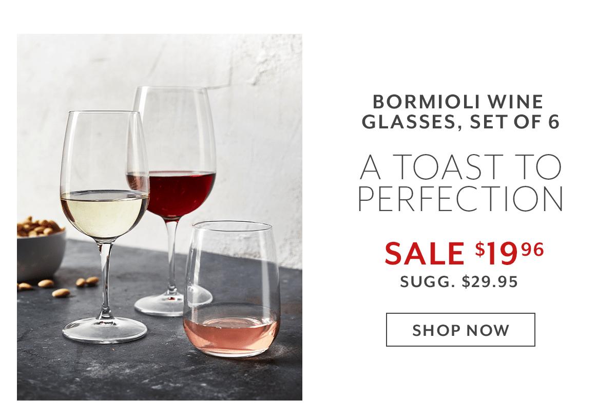 Bormioli Rocco Wine Glasses, Set of 6