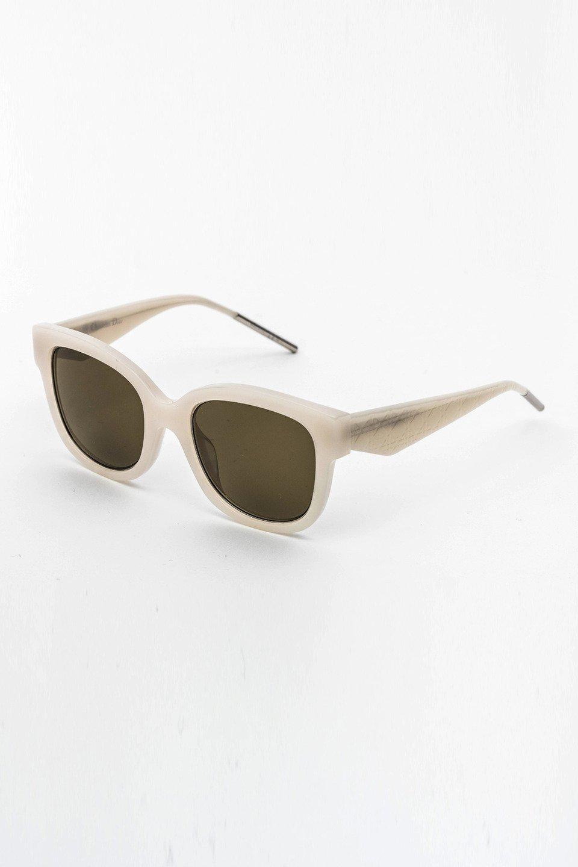 Ladies Geometric Frame Sunglasses in White/Olive Green