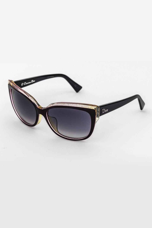 Ladies Cateye Frame Sunglasses in Black, Silver /Blue