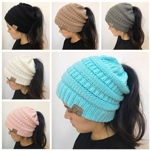 4ac8f1e00c7 Women Girl Stretch Knit Hat Messy Bun Ponytail Beanie Holey Warm Winter