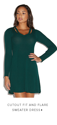 CUTOUT FIT AND FLARE SWEATER DRESS