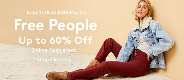 Ends 1/28 at 8AM Pacific | Free People | Up to 60% Off | Online Flash Event | Shop Clothing