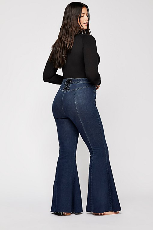 CRVY Super High-Rise Lace-Up Flare Jeans