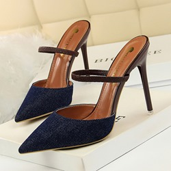 bb3a5d24ed Shoespie Stylish Closed Toe Slip-On Stiletto Heel Mule Shoes