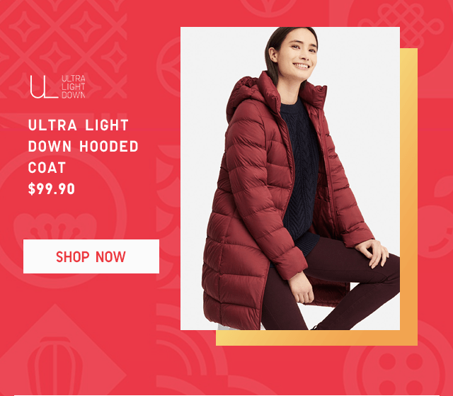 ULTRA LIGHT DOWN HOODED COAT $99.90 - SHOP NOW