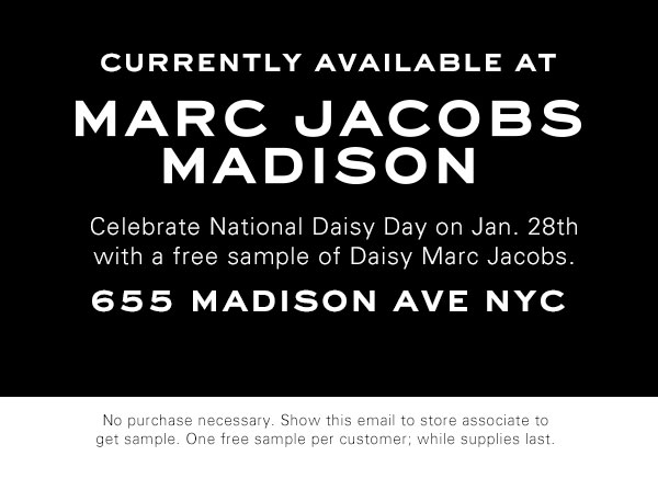 Celebrate National Daisy Day with a free sample of Daisy Marc Jacobs on Jan 28th