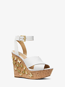 Lacey Butterfly Embellished Leather Wedge
