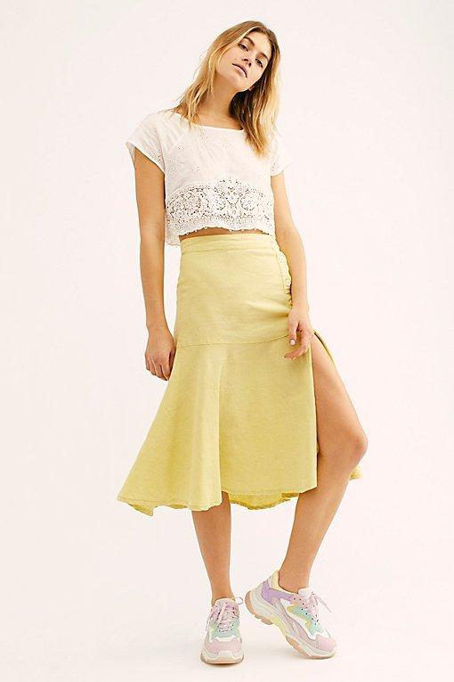 Poppy Flounced Midi Skirt