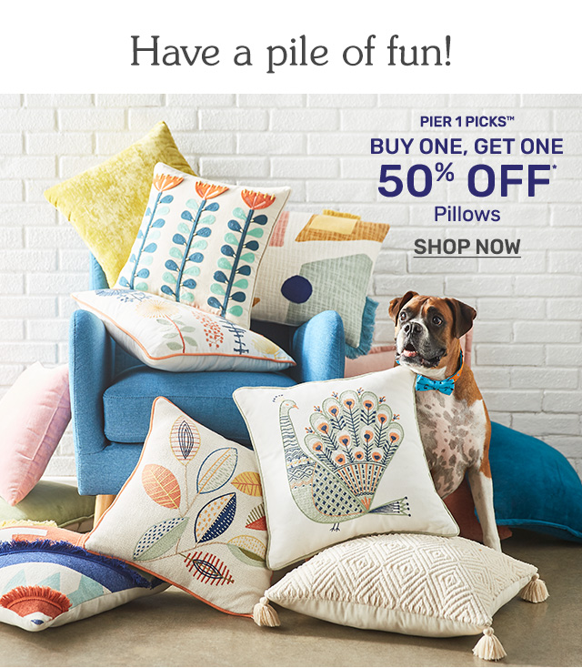 Buy one, get one fifty percent off pillows. Shop now!