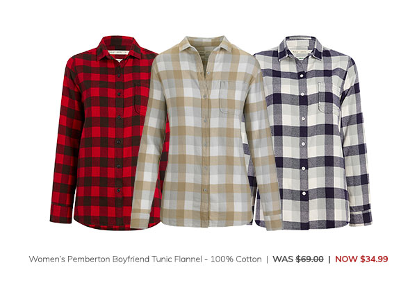 Women's Pemberton Boyfriend Tunic Flannel Shirt – 100% Cotton Was: $69.00 Now: $34.99