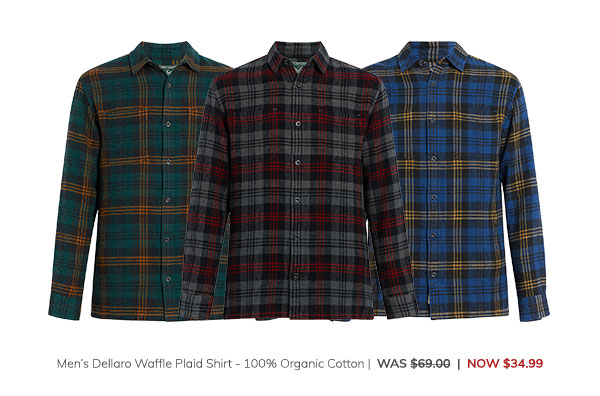 Men's Dellaro Waffle Plaid Shirt – 100% Organic Cotton Was: $69.00 Now: $34.99