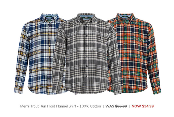 Men's Trout Run Plaid Flannel Shirt – 100% Cotton Was: $65.00 Now: $34.99