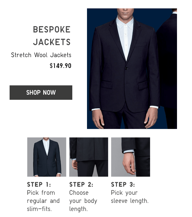 STRETCH WOOL JACKETS $149.90 - SHOP NOW