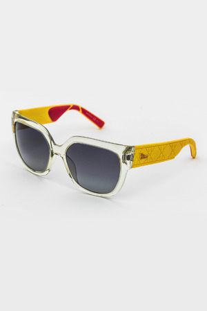 Ladies Square Frame Sunglasses in Yellow/Gray Gradient