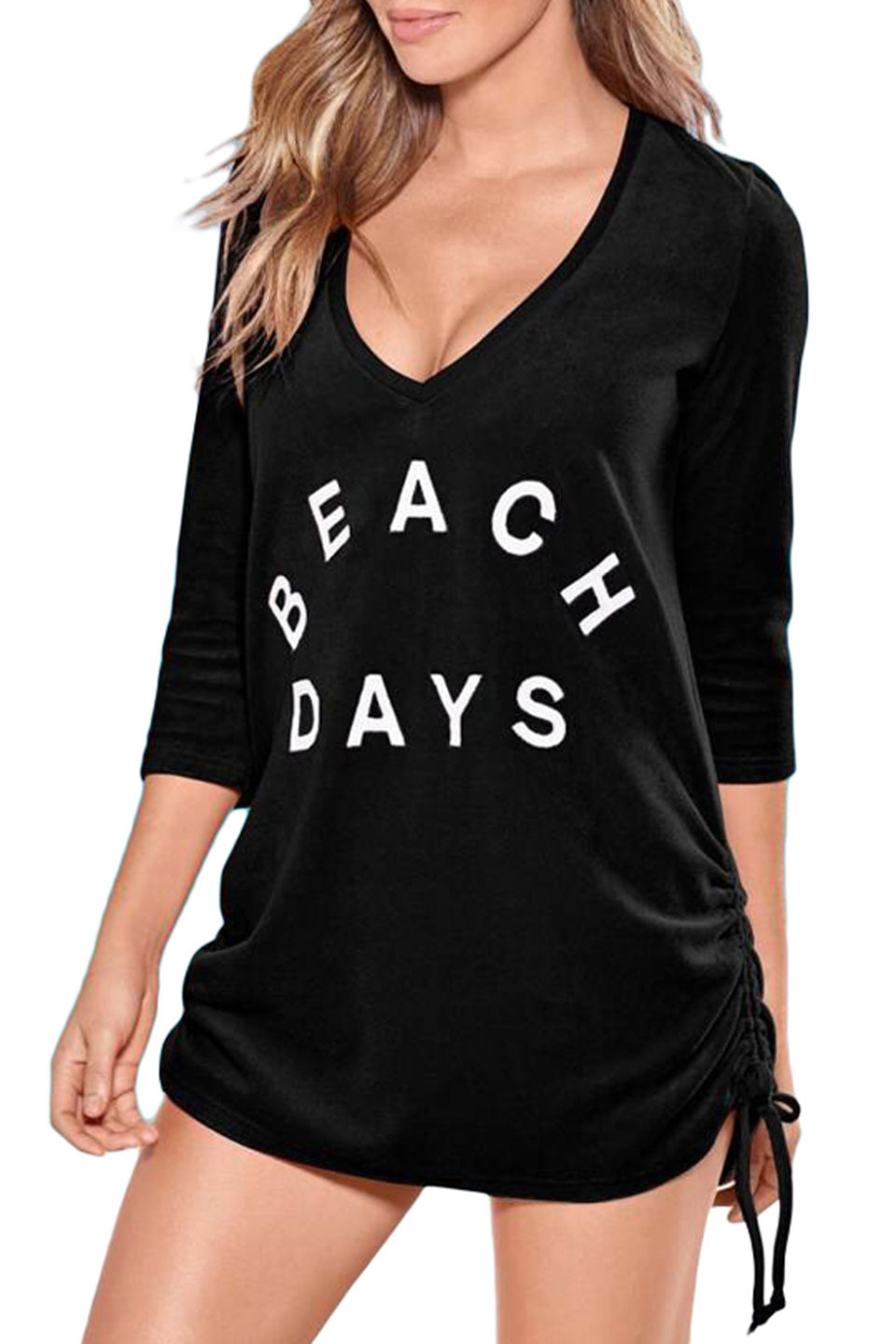 Ruched Tie Side V Neck Beach Cover Up in Black