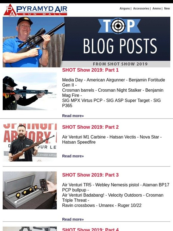 Pyramyd Air: Must Read: Tom's Top SHOT Show Blog Posts | Milled