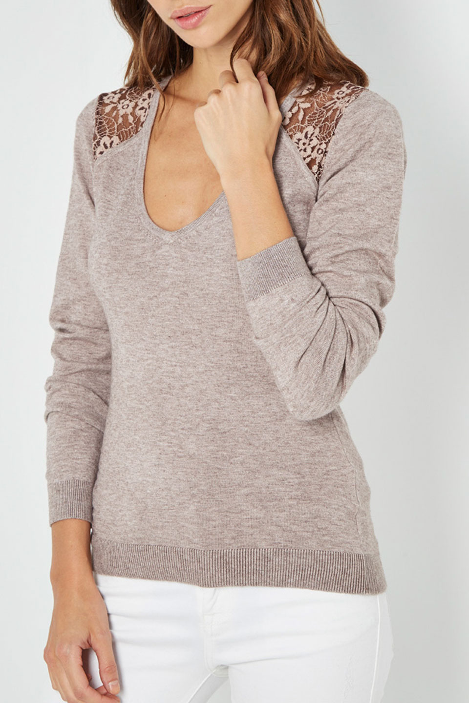 Faye V-Neck Sweater with Lace in Desert