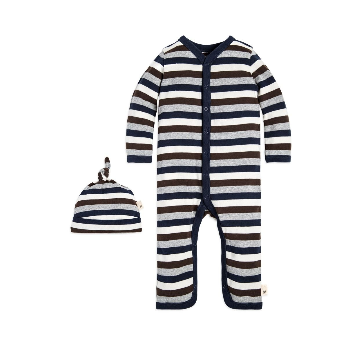 Multi Stripe Organic Baby Cotton One Piece Jumpsuit & Hat Set