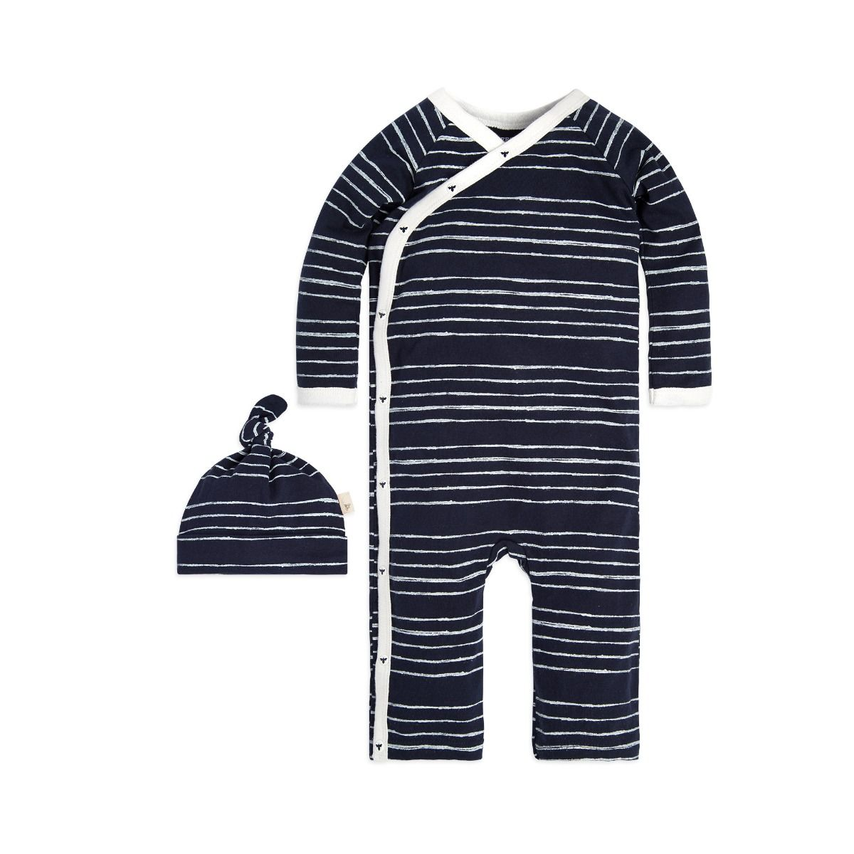 Lullaby Stripe Kimono Organic Baby Cotton One Piece Jumpsuit & Hat Set