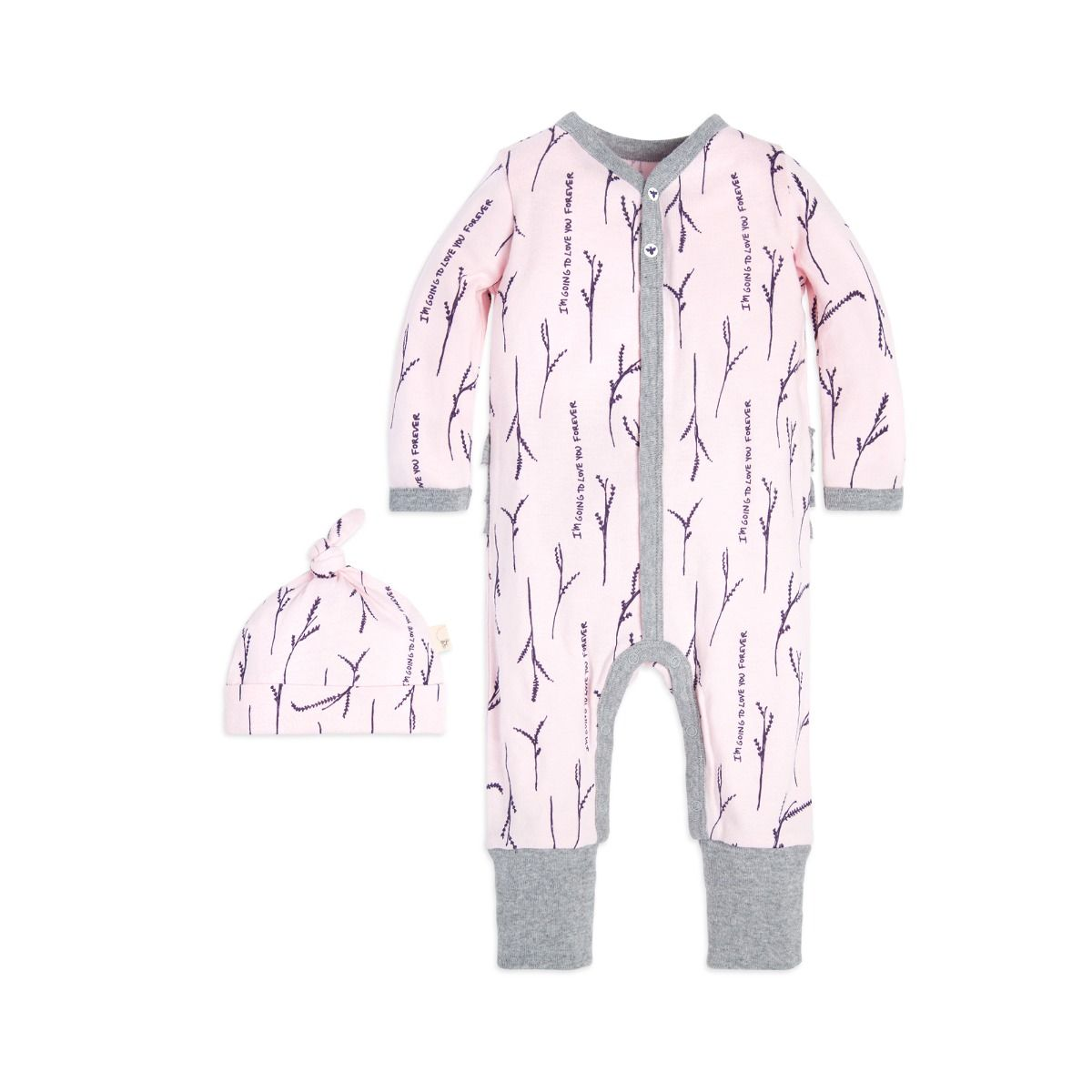 Love You More Ruffle Organic Baby One Piece Jumpsuit & Hat Set