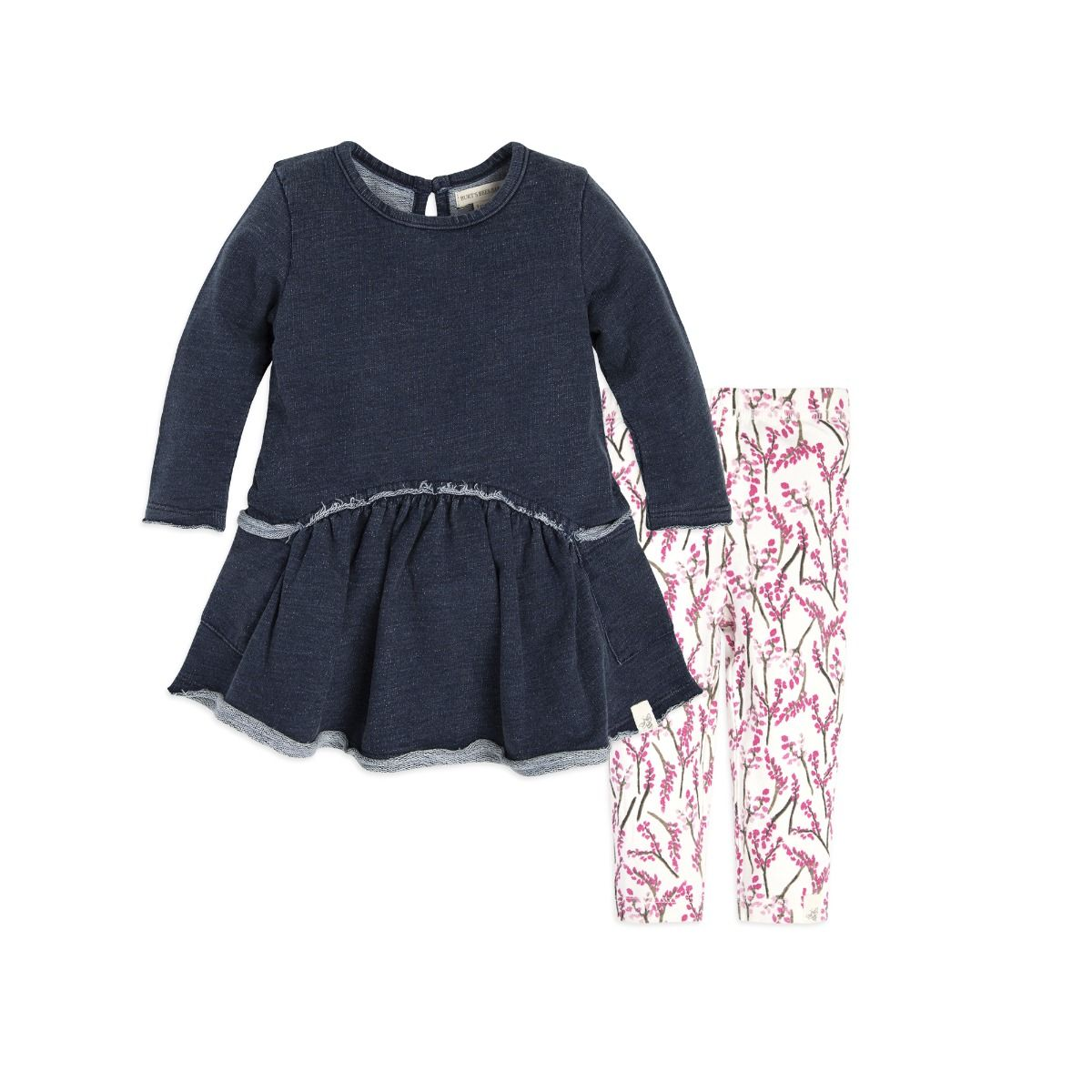 French Terry Denim Wash Organic Baby Dress & Legging Set