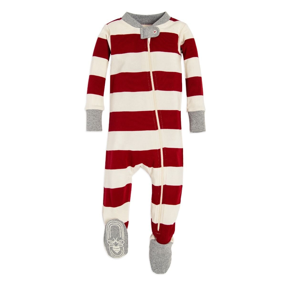 Rugby Stripe Organic Baby Holiday Matching Zip Up Footed Pajamas