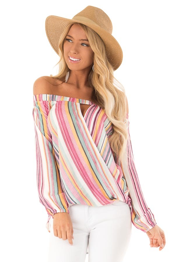 3e377d6cfb625 Multi Color Striped Off the Shoulder Top with Keyhole Cutout ...
