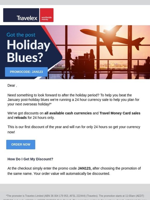 Travelex Currency: 24 Hour Post-Holiday Blues Sale | Milled