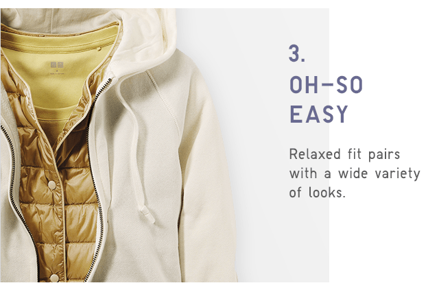 RELAXED FIT PAIRS WITH A WIDE VARIETY OF LOOKS.