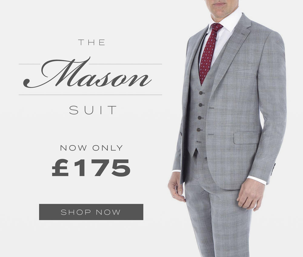 Austin Reed Mason Grey Checked Wool Suit Now Only 175 Milled