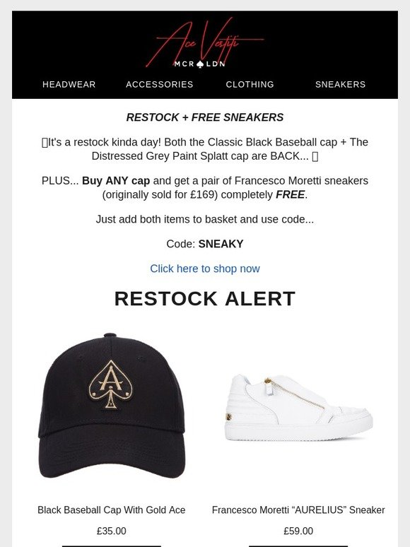 6943ce7e7 Ace Vestiti: 🔥Your FREE sneakers? 🔥 | Milled