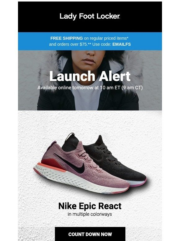 d0d9a882b290 Lady Foot Locker  New release  Nike Epic React – available 1.31