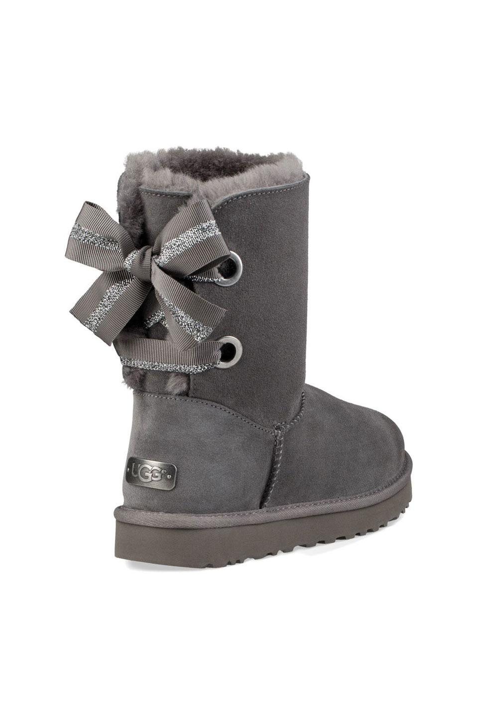Customizable Bailey Bow Short Boot in Charcoal