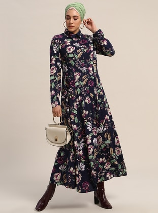 6a96990e504 Navy Blue - Floral - Point Collar - Unlined - Dresses - Refka