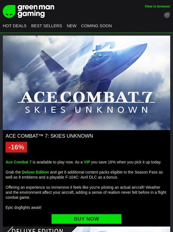Green Man Gaming: Ace Combat 7 - Play Now | Exclusive VIP