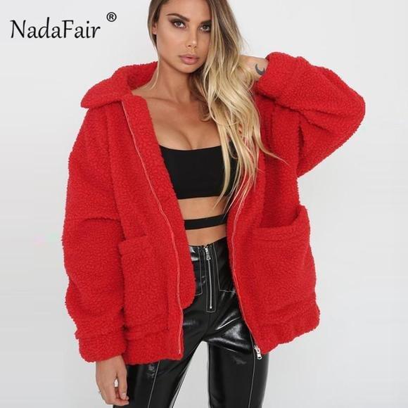 d877b08051430 Nadafair Fleece Faux Shearling Jacket Coat Women Autumn Winter Warm Thick  Teddy Coat Female Casual Overcoat Oversize Outerwear