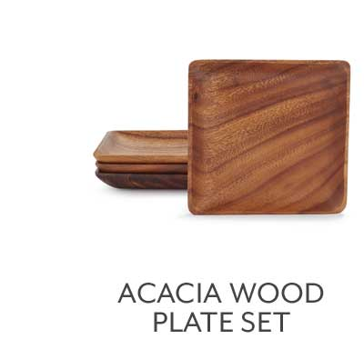 Acacia Wood Plates, Set of 4