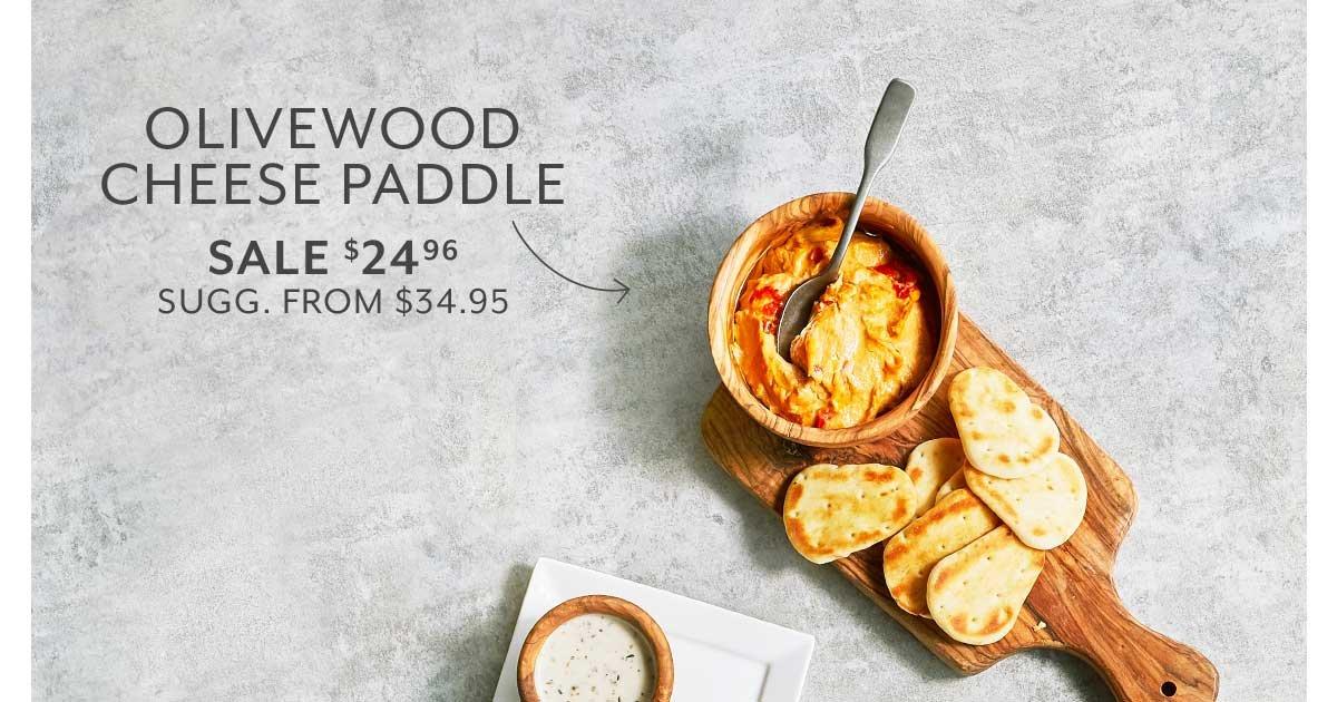 Italian Olivewood Slice Cheese Paddle