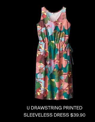U DRAWSTRING PRINTED SLEEVELESS DRESS $39.90