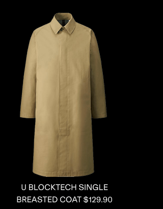 U BLOCKTECH SINGLE BREASTED COAT $129.90