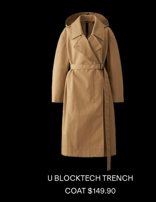 U BLOCKTECH TRENCH COAT $149.90