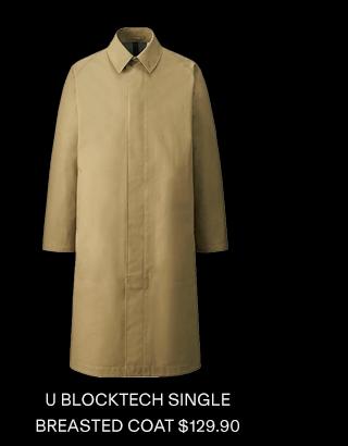 U BLOCKTECH SINGLE BREASTED COAT $129.90