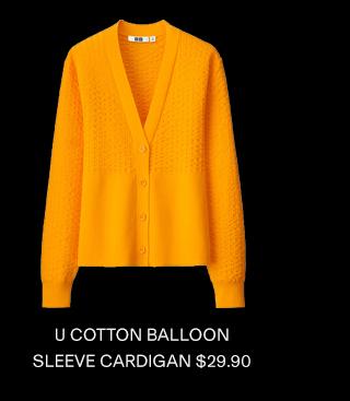 U COTTON BALLOON SLEEVE CARDIGAN $29.90