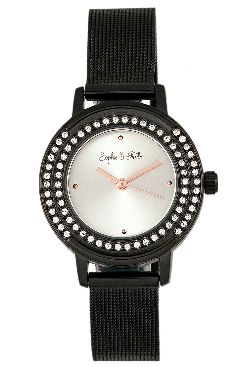Cambridge Watch with Swarovski Crystal in Silver and Black