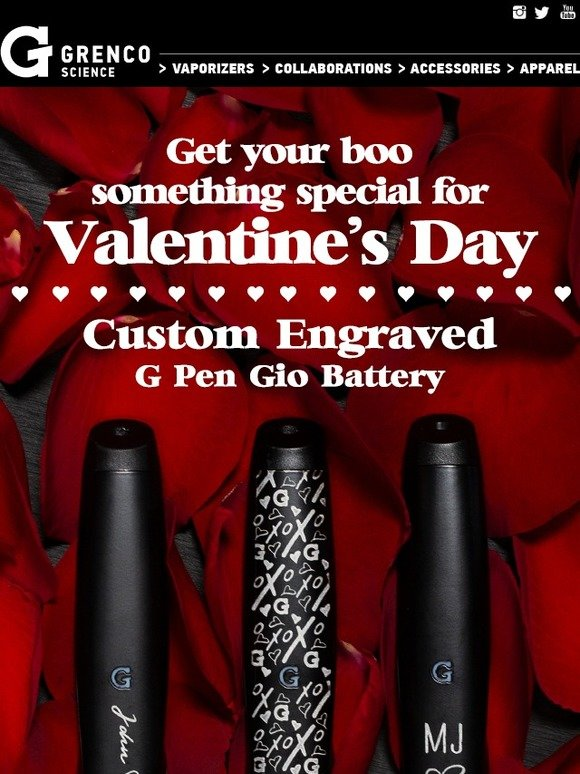 Grenco Science: ❤️ Custom Engraved Gio Battery for Valentines Day
