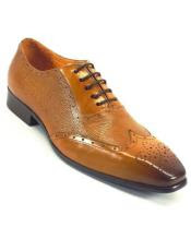 afa8a437934c8 SKU#SM4145 Men's Genuine Lace Up Leather Cognac / Perf Fashionable Wing Toe  Shoes